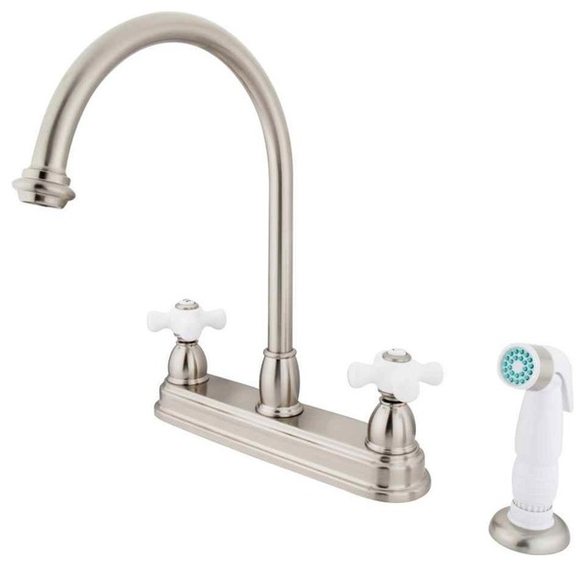 8 Kitchen Faucet With White Non Metallic Sprayer Kitchen Faucets By