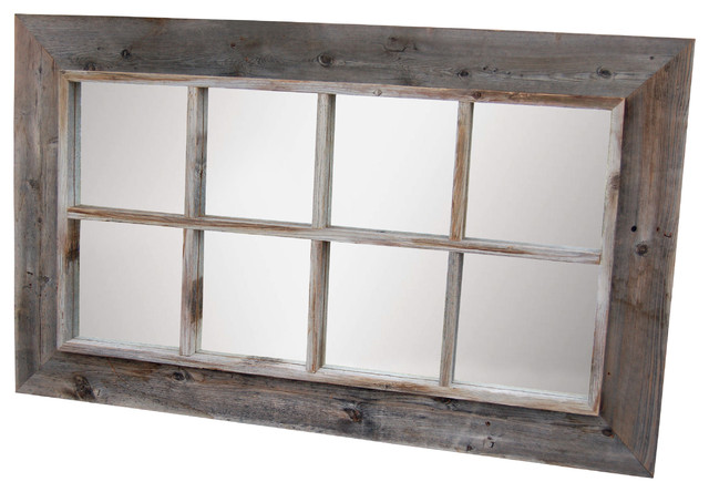 8 Panel Barn Wood Window Pane Mirror 25x45