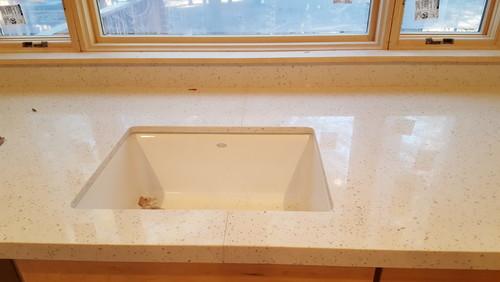 Bathroom Sinks For Quartz Countertops quartz countertop seam through kitchen sink