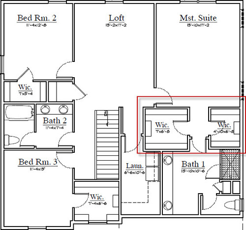Master bath closet layout options for Master closet and bathroom layouts