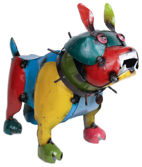 Recycled Metal Bulldog   Rustic   Garden Statues And Yard Art   By Mexican  Imports