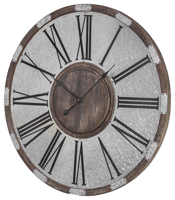 Wood And Metal Oversized Vintage Wall Clock Farmhouse Wall Clocks By American Art Decor Inc Houzz