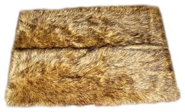 Faux Fur Light Brown Wolf Area Rug Contemporary Area