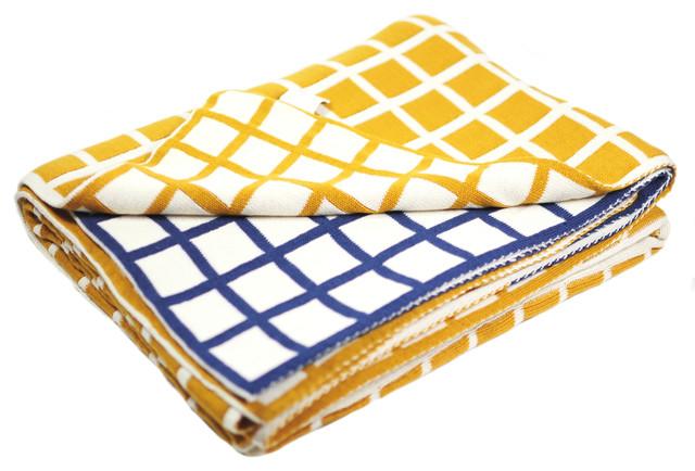 Cotton Throw Blanket, Sveda Collection   Grey/Blue   Contemporary