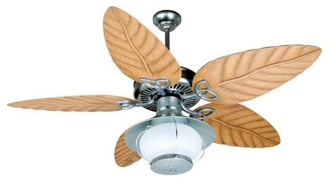 Patio 54 Ceiling Fan Galvanized Light Oak Blade Frosted.
