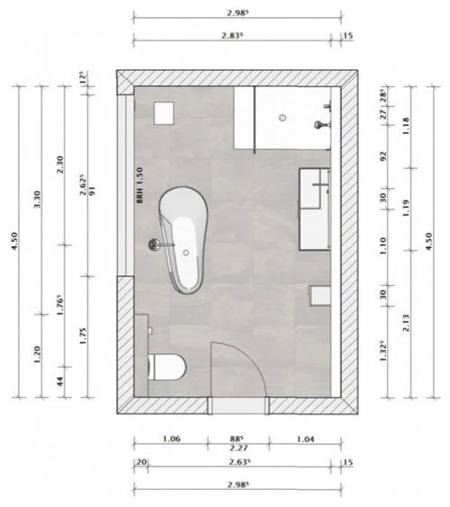 Ursprüngliche Planung eines Bades mit freistehender Wanne