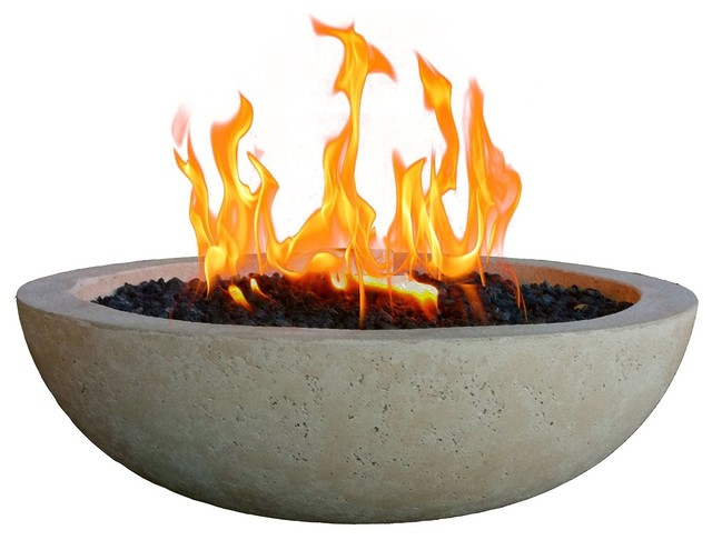 Long Burning Top Fire Bowl, Pearl Gray Transitional Fire Pits