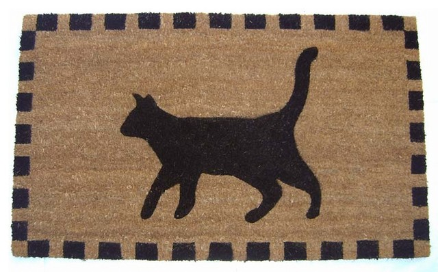 Black Cat Doormat contemporary-doormats & Geocrafts - Black Cat Doormat - View in Your Room! | Houzz