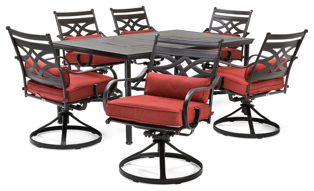 Montclair 7-Piece Dining Set With Swivel Rockers And Dining Table, Chili Red.