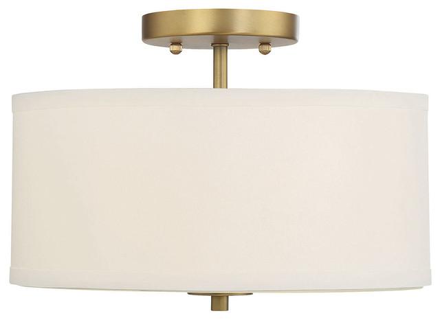 2-Light Semi-Flush Mount, Natural Brass