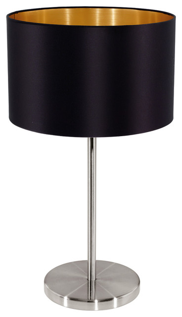Maserlo Table Lamp, Matte Nickel Finish With Cloth Black/Gold Shade  Contemporary Table