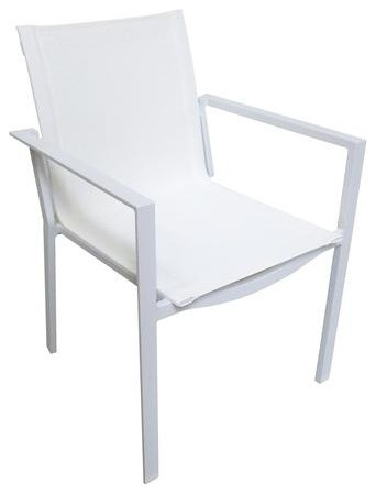 Stackable Luxury Powder Coated Aluminum Armchairs, Set Of 6, White  Contemporary Outdoor Part 83