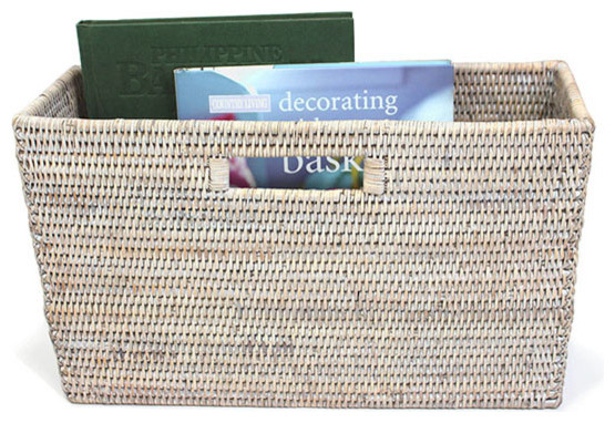 White Wash Rattan Slim Magazine Basket Racks