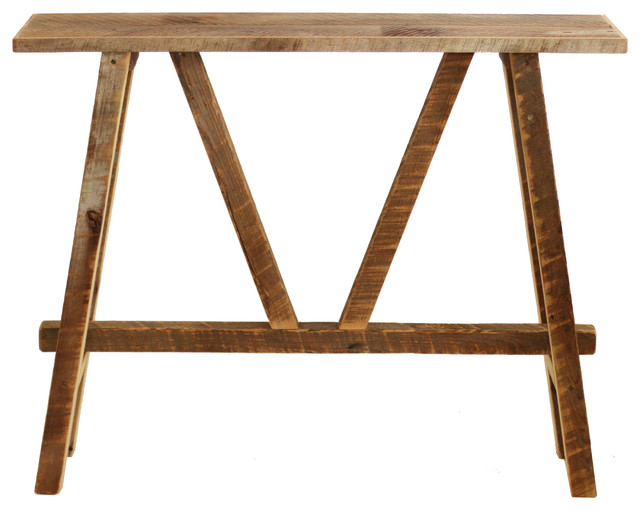 Reclaimed Wood Rustic Console Table, Natural Barn Wood.