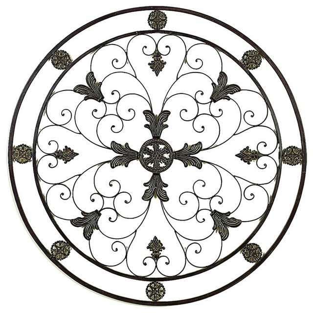 Metal Circle Wall Decor victorian circular medallion wall decor - mediterranean - metal