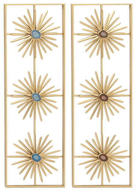 Elegant Metal Resin Wall Decor, 2-Piece Set. -1