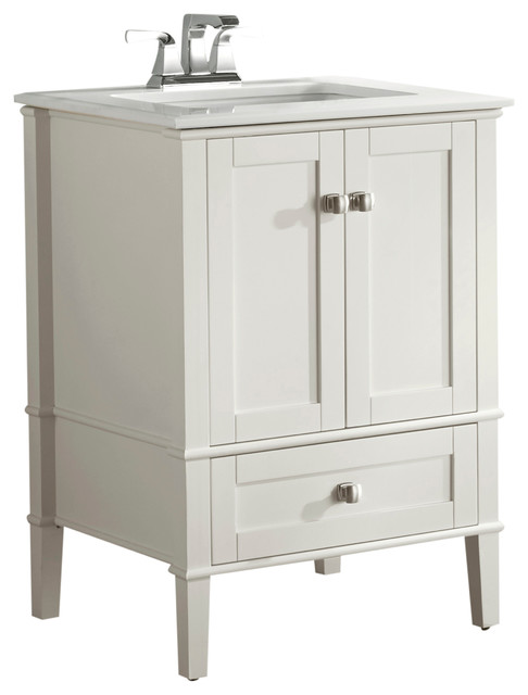 "Lesslie Bath Vanity With White Quartz Marble Top, 25""."