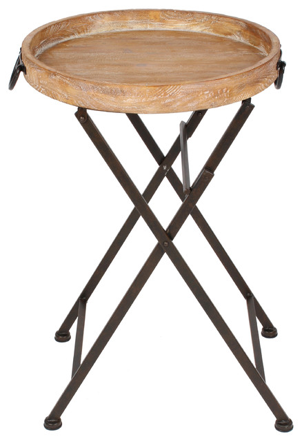 Marmora Wood And Metal Round Tray Table 19 X18 X28 Industrial
