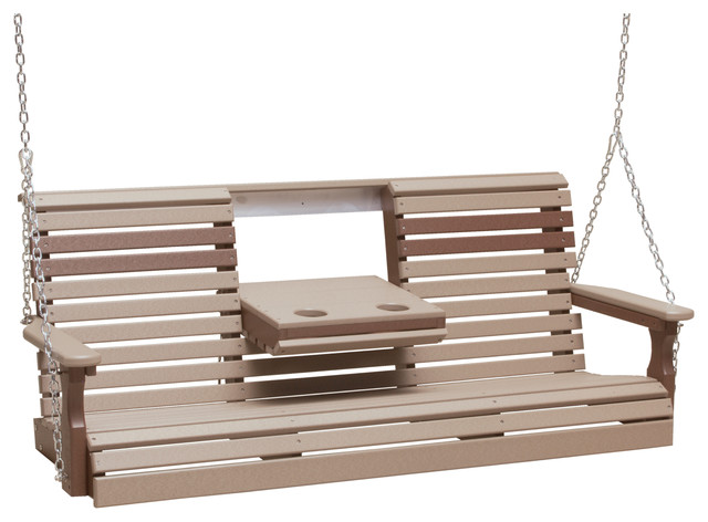 5' Poly Rollback Porch Swing, Weather Wood/Chestnut Brown