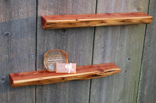 Two Reclaimed Cedar Log Shelves Floating Shelves 400 X 40 Cool Outdoor Floating Shelves