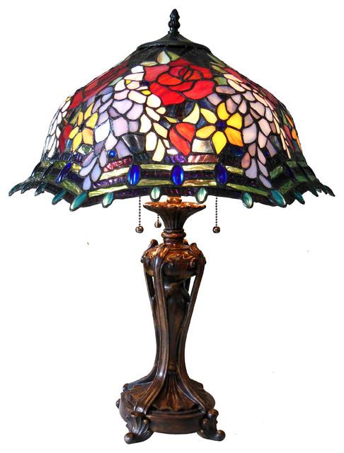 Carrell, Tiffany-Style 3 Light Roses Floor Lamp, 20 Shade.