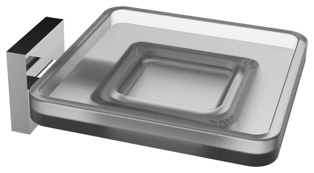 Eviva Plater Glass Soap Holder Wall Mount, Brushed Nickel