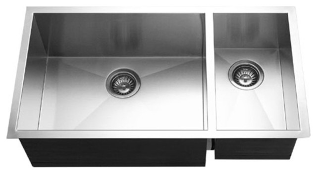 Merveilleux Houzer CTO 3370SR Contempo Stainless Steel 70/30 Double Bowl Sink R Prep  Bowl
