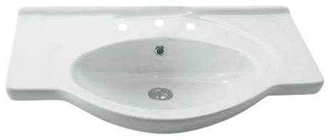 Etol 075 Wall Mounted Bathroom Sink In Ceramic White 29.5 X 19.7, Three Faucet.