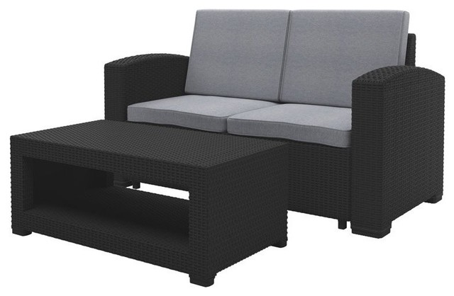 2 Piece All Weather Black Loveseat Patio Set With Light Gray Cushions