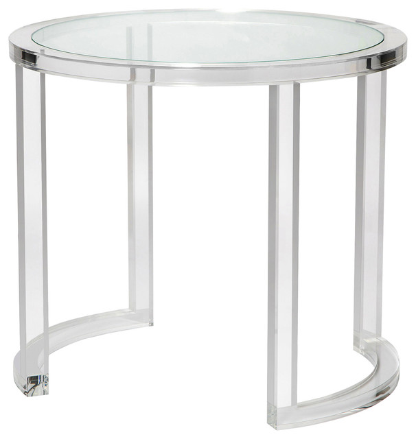 Ava Modern Acrylic Clear Glass Round Center Table Modern Side Tables And