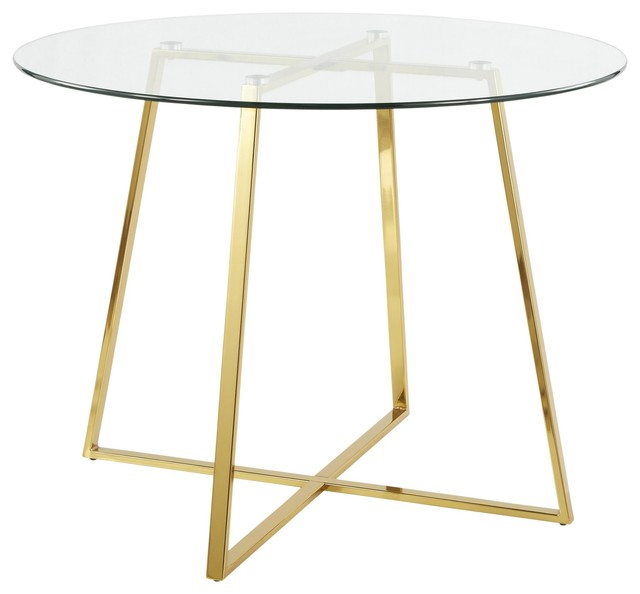 Cosmo Contemporary/Glam Dining Table, Gold Metal and Clear Tempered Glass