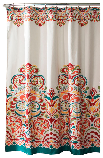 Clara Shower Curtain, Turquoise/Tangerine Contemporary Shower Curtains