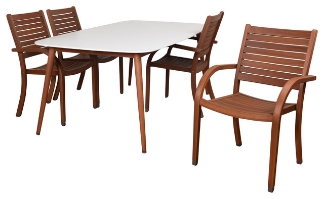 Milano Liza 5-Piece Patio Dining Set, White And Brown.