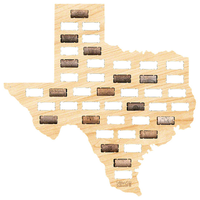 Texas Wine Cork Map Contemporary Wall Accents by