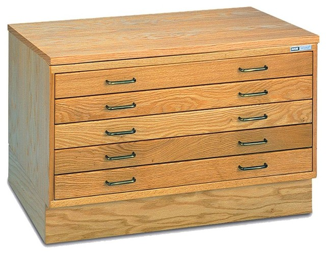Wood Drawer Plan File in Natural Finish, Small Unit - Contemporary - Filing Cabinets - by ShopLadder
