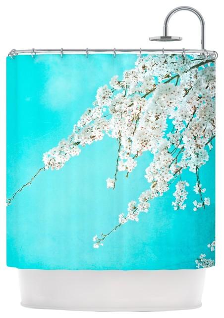 Monika Strigel Hanami Teal White Shower Curtain