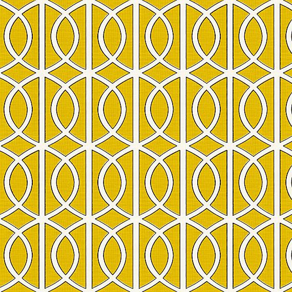 Yellow Modern Trellis Linen Fabric