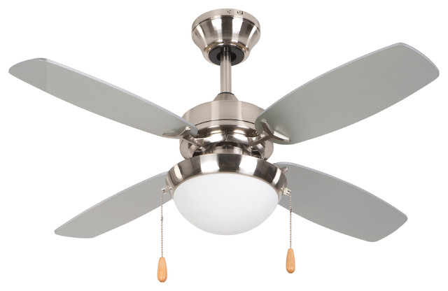 "36"" Ceiling Fan, Bright Brushed Nickel Finish, 72"" Lead Wire."