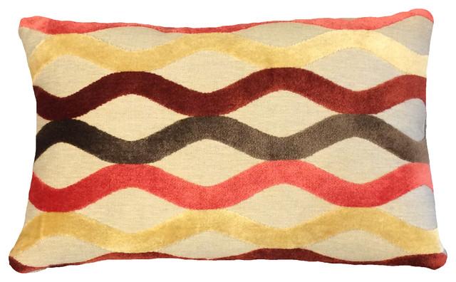 Deep Red, Brown And Linen Raised Velvet Lumbar Pillow