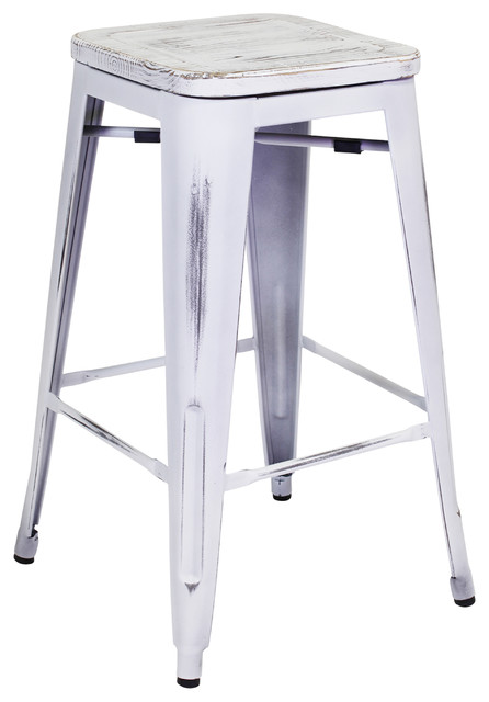 Admirable Rustic Metal Counter Stool White Pabps2019 Chair Design Images Pabps2019Com
