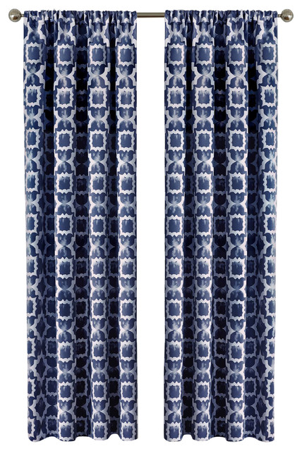 Tara Window Curtain Panel, 54x63, Navy.