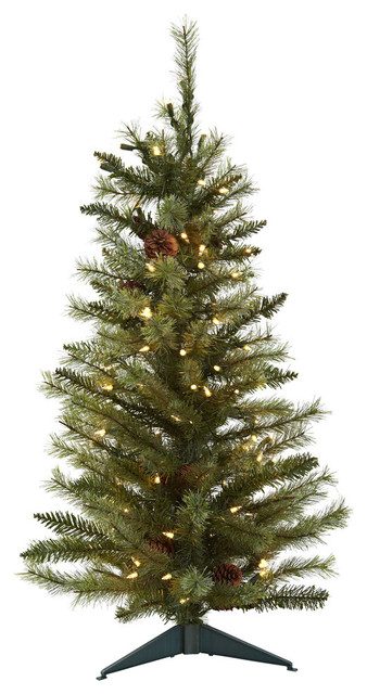3 christmas tree with pine cones and clear lights - Christmas Tree With Pine Cones