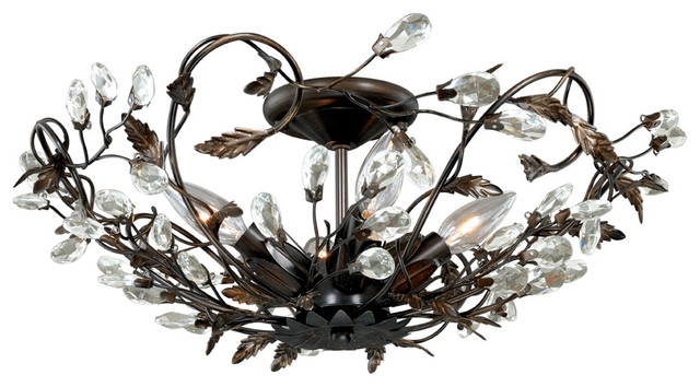 """Jardin 17-3/4"""" Semi-Flush Mount, Architectural Bronze With Gold Accents."""