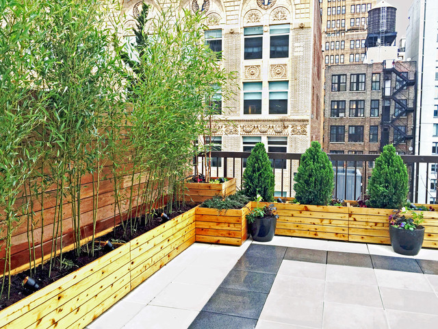 Chelsea, nyc rooftop terrace design with custom cedar planter boxes ...