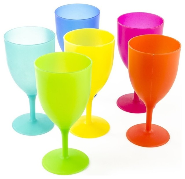 ca290ba12bf 6-Piece Reusable Plastic Picnic Goblets Set, 14 Oz Party Wine Glasses