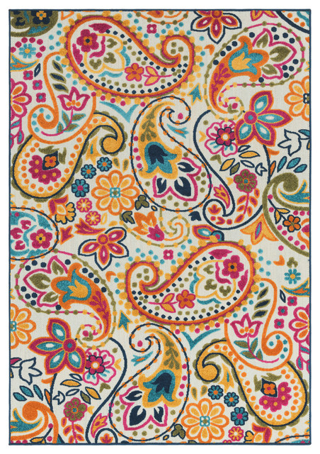 "Jolene Floral And Paisley Saffron, Bright Pink Area Rug, 7&x27;10""x10&x27;3""."