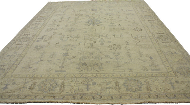 New Transitional Oushak Style Rug Neutral Color Area Rug 08 11 X11 11