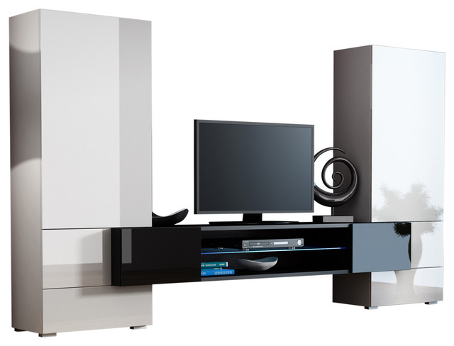 Modern Entertainment Center Wall Unit Tori Fits 65 Tv White Black