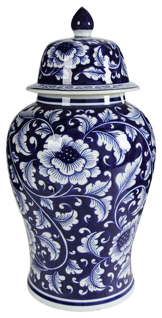 Blue and White Porcelain Ginger Jar With Lid
