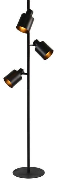 Downfield 3-Light Floor Lamp, Matte Black.